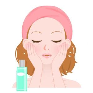 化粧水をつけるイラスト